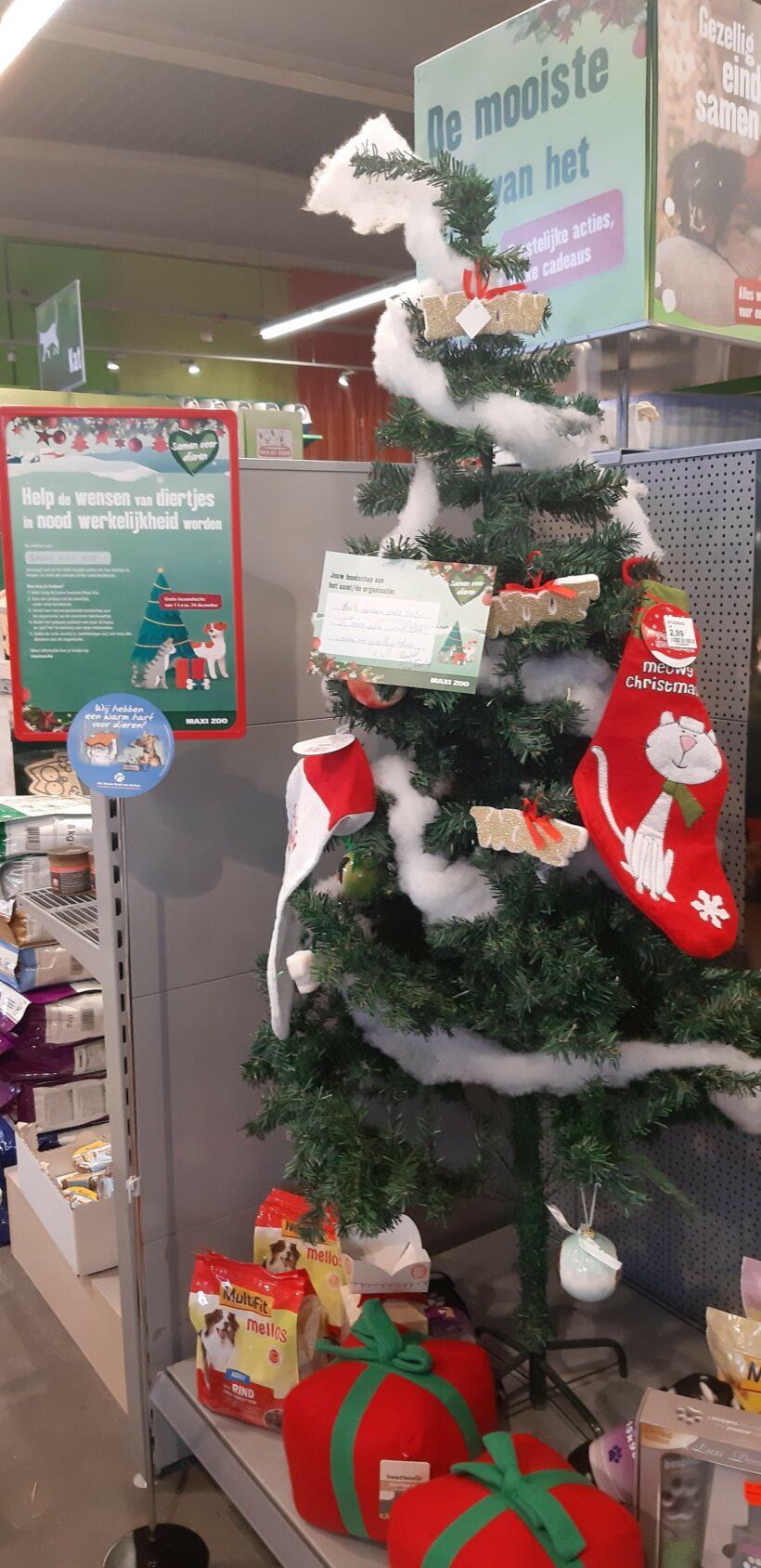Een Kerstboom vol met wensen…een warme actie van Maxizoo Oostende